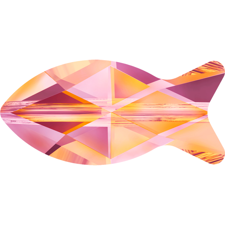 """Glass Beads of Swarovski Elements """"Fish"""" 18.0mm (Crystal-Astral Pink, REMAINING STOCK)"""
